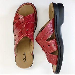 Clarks Patty Belle Red Slides Sandals Women's Sz 6